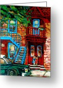 Montreal Street Life Greeting Cards - Debullion Street Neighbors Greeting Card by Carole Spandau