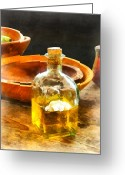 Wooden Bowls Greeting Cards - Decanter of Oil Greeting Card by Susan Savad