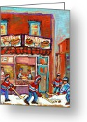 Hockey Street Scenes In Montreal Greeting Cards - Decarie Hot Dog Montreal Restaurant Paintings Ville St Laurent Streets Of Montreal Paintings Greeting Card by Carole Spandau