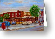 Resto Bars Greeting Cards - Decarie  Tasty  Food  Pizza Greeting Card by Carole Spandau
