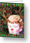 Elves Greeting Cards - December Faun Greeting Card by Mindy Newman