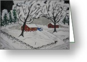 Pine Trees Painting Greeting Cards - December Snow Greeting Card by Jeffrey Koss