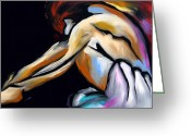 Figurative Mixed Media Greeting Cards - Decision Time - Abstract Nude by Fidostudio Greeting Card by Tom Fedro - Fidostudio