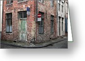 Cobblestone Street Greeting Cards - Decisions in Bruges Greeting Card by John Rizzuto