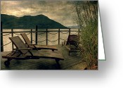 Mountain Texture Greeting Cards - Deck Chairs Greeting Card by Joana Kruse