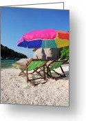 Shade Greeting Cards - Deck Chairs On A Beach In Thailand Greeting Card by Thepurpledoor