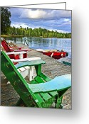 Rowboat Greeting Cards - Deck chairs on dock at lake Greeting Card by Elena Elisseeva
