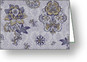 Carpet Painting Greeting Cards - Deco Flower blue Greeting Card by JQ Licensing
