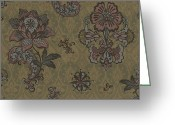 Carpet Painting Greeting Cards - Deco Flower Brown Greeting Card by JQ Licensing