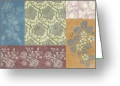 Carpet Painting Greeting Cards - Deco Flower Patchwork 2 Greeting Card by JQ Licensing