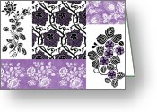 Carpet Painting Greeting Cards - Deco Flower Patchwork 3 Greeting Card by JQ Licensing
