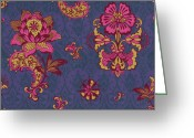 Carpet Painting Greeting Cards - Deco Flower Purple Greeting Card by JQ Licensing
