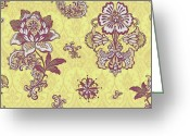 Carpet Painting Greeting Cards - Deco Flower Yellow Greeting Card by JQ Licensing