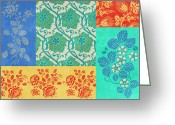 Carpet Painting Greeting Cards - Deco Flowers Greeting Card by JQ Licensing