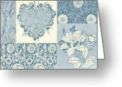 Carpet Painting Greeting Cards - Deco Heart Blue Greeting Card by JQ Licensing