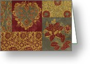 Carpet Painting Greeting Cards - Deco Heart Earthtones Greeting Card by JQ Licensing