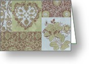 Carpet Painting Greeting Cards - Deco Heart Sage Greeting Card by JQ Licensing
