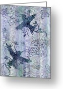 Carpet Painting Greeting Cards - Deco Hummingbird Blue Greeting Card by JQ Licensing