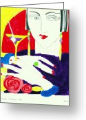 Cocktail Ring Greeting Cards - Deco lady Greeting Card by Susanne Lawrence BA Hons