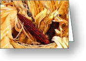 Wicker Baskets Greeting Cards - Decorative Corn in a Hand Woven Wicker Basket Greeting Card by Chantal PhotoPix