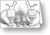 Silver Pitcher Greeting Cards - Decorative Service, 1852 Greeting Card by Granger