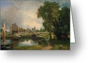 Romanticist Greeting Cards - Dedham Lock and Mill Greeting Card by John Constable