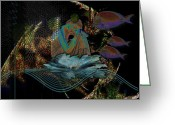 Contemplation Digital Art Greeting Cards - Deep Contemplation - Innere Einkehr Greeting Card by Mimulux patricia no  
