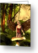 Fairies Greeting Cards - Deep In The Forest Greeting Card by Emma Alvarez