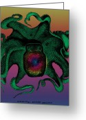 Genteel Greeting Cards - Deep Monster Number Two Greeting Card by Eric Edelman