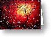 Dark Brown Greeting Cards - Deep Red by MADART Greeting Card by Megan Duncanson