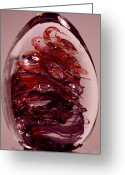 Sculpture Glass Glass Art Greeting Cards - Deep Reds II  PRE1 Greeting Card by David Patterson