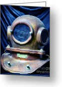 Helmet Greeting Cards - Deep Sea Dive Helmet Greeting Card by Paul Ward