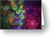 Fractal Greeting Cards - Deep Sea Flora I Greeting Card by Amorina Ashton