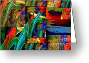 Sunny Days Greeting Cards - Deep Sea Quilt Greeting Card by Angela L Walker