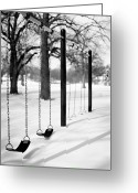 Bare Tree Greeting Cards - Deep Snow & Empty Swings After The Blizzard Greeting Card by Trina Dopp Photography