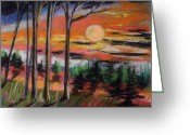 Woods Pastels Greeting Cards - Deep Sunset Greeting Card by John  Williams