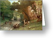 Riviere Greeting Cards - Deer by a River Greeting Card by Gustave Courbet