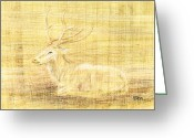 Expressive Drawings Greeting Cards - Deer Greeting Card by Hakon Soreide