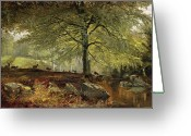 Trees Oil Greeting Cards - Deer in a Wood Greeting Card by Joseph Adam