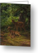 Sat Greeting Cards - Deer in Repose Greeting Card by Rosa Bonheur