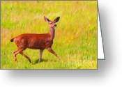 Impressionist Art Greeting Cards - Deer In The Meadow Greeting Card by Wingsdomain Art and Photography
