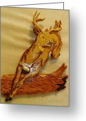 Deer Sculpture Greeting Cards - Deer Jumping over a Log Greeting Card by Russell Ellingsworth