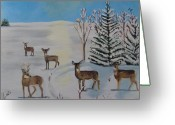 Does. Winter Greeting Cards - Deer on the frozen lake Greeting Card by Aleta Parks