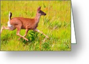 Impressionist Art Greeting Cards - Deer Prancing In The Field Greeting Card by Wingsdomain Art and Photography