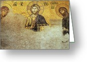 Pantocrator Greeting Cards - Deesis Mosaic Hagia Sophia-Christ Pantocrator-Judgement Day Greeting Card by Urft Valley Art