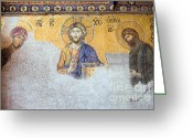 Byzantine Icon Greeting Cards - Deesis Mosaic of Jesus Christ Greeting Card by Artur Bogacki