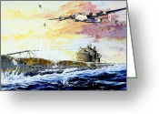 Plane Drawings Greeting Cards - Defending the Coast Greeting Card by Charles Taylor