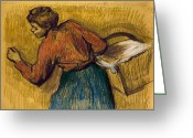 1889 Greeting Cards - DEGAS: LAUNDRESS, c1888-92 Greeting Card by Granger