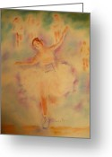 Runner Pastels Greeting Cards - Degas Runner   Finish Line Greeting Card by Sandy Ryan