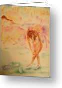 Runner Pastels Greeting Cards - Degas Runner  Stretch Greeting Card by Sandy Ryan